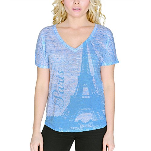 Paris Eiffel Tower Vacation France Women's Slouchy V-Neck T Shirt Blue
