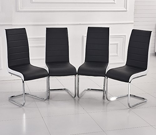 MODERN FAUX LEATHER DINING CHAIRS BLACK WHITE-SIDE METAL CHROME CANTILEVER STURDY LEGS (Set of 4)