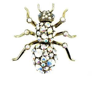 Body Bling Brosche Spinne vergoldet Glaskristall