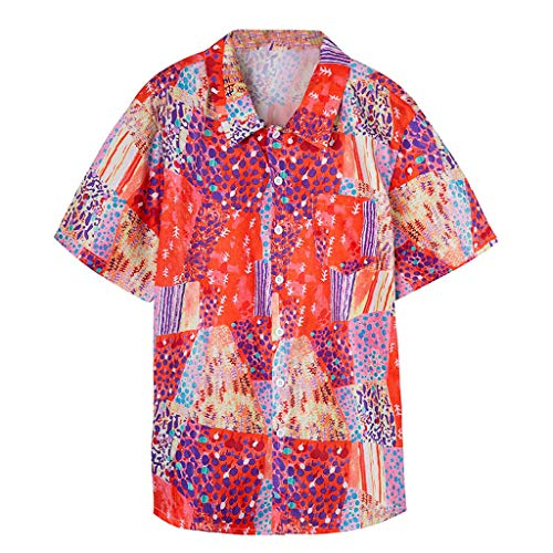 Hawaiihemd | Herren | Kurzarm | Front-Tasche | Hawaii-Print | Strand Shirt Schnelltrocknend Leichte Atmungsaktives Bequem Button Down Graphic Shirts - Front-print-tee