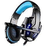 [Nuevo Auricular Gaming 7.1] KingTop EACH G9000 7.1 Gaming Auriculares Auricular Diadema con Micrófono Luz LED para PC ordenador portátil (Negro-Azul)