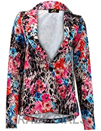 Estefani New Women One Button Front Animal Line Ponte Ladies Blazer Jacket Coat