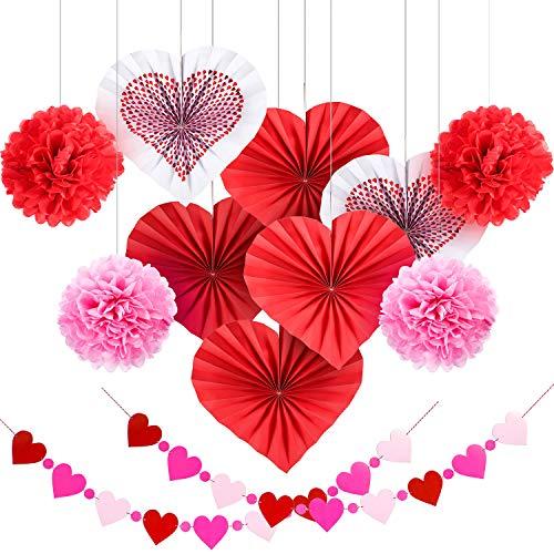 Blulu Kit de Decoración de Papel de Día de San Valentín, Flores de Papel de Seda Banderines Abanicos Colgantes para Decoraciones de Fiesta (12 Piezas Estilo 1)