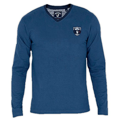 T-Shirt Herren Langarm Rugby Frankreich Shilton Blau