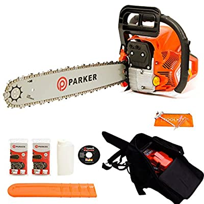 """62CC 20"""" PETROL CHAINSAW + 2 x CHAINS - CARRY BAG - BAR COVER - TOOL KIT - ASSISTED START"""
