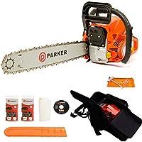 Tronçonneuse thermique Parker 62 cm³ - Longueur de guide de 50cm + 2 chaine, sac de transport et kit d'outils/cache