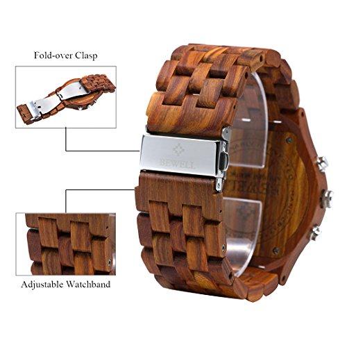 BEWELL Uhren Aus Holz Herrenuhr Chronograph Quarzwerk mit Holzarmband Datum Kalender Stoppuhr Rund Holzkern Uhr (Rot) - 4