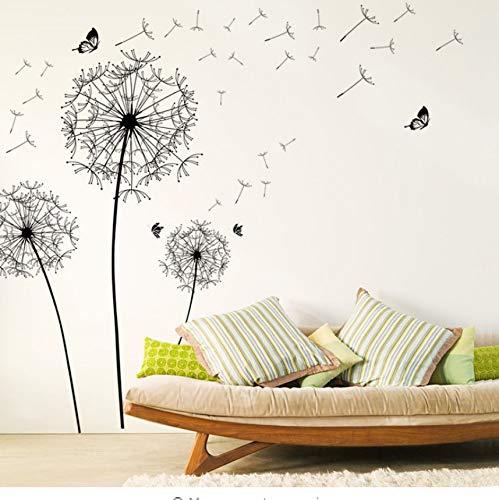 schwarz löwenzahn blume wandaufkleber dekoration wohnzimmer schlafzimmer möbelkunst aufkleber schmetterling wandbilder