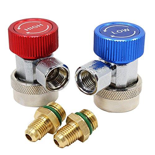 HSeaMall Hoch Niedrig Einstellbar AC R134A Schnellkupplung Steckeradapter Auto Klimaanlage Zubehör Werkzeuge 2 PACK -
