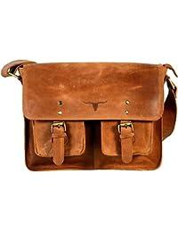 ICS's 17 Inch UF Twin Pocket Leather Messenger Bag Leather Satchel Laptop Bag Macbook Bag Purse Handbag Shoulder...