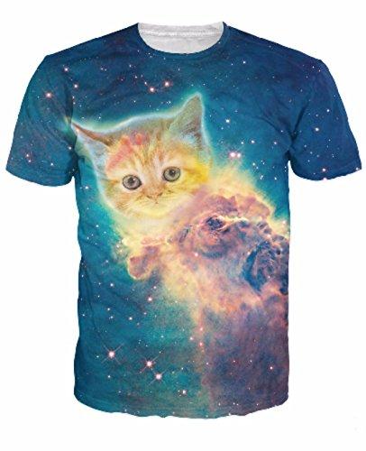 Men's 3D Killer Laser Kitty Printed Casual Tee Shirt 11