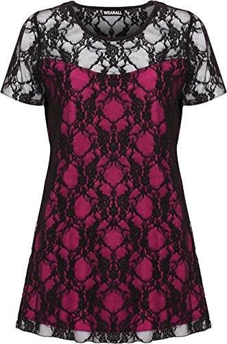 WearAll Damen Übergröße Elastisch Gefuttert Spitze Kurzarm Lang Top Kleid 9  Farben Größe 4256 Schwarz Cerise