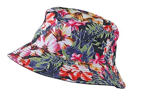 Myrtle Beach Colourful Bucket Hat in Flower/Black Größe: L/XL