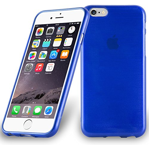 Apple iPhone 6 PLUS Silikon-Hülle in ROT von Cadorabo - TPU Schutz-hülle Edelstahl-Optik gebürstet BRUSHED Design – Handy-hülle Bumper Case Cover in ROT BLAU
