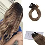 Moresoo 16 Zoll Clip in Hair Extensions Echthaar 9PCS 120G Balayage Color #2 Brown Fading to #8 Light Brown Highlight with #12 Light Golden Brown Full Head Extensions Brazilian Remy Clip in HaarVerlängerung