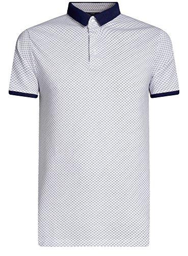 oodji Ultra Herren Gerades Bedrucktes Poloshirt Weiß (1079G)
