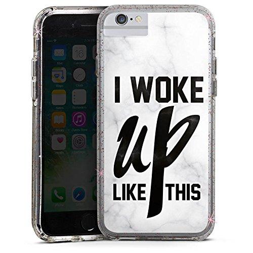 Apple iPhone 6 Bumper Hülle Bumper Case Glitzer Hülle Flawless Beyonce I Woke Up Like This Bumper Case Glitzer rose gold