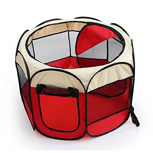 DZSF Faltbare Pet Carrier Zelt Laufstall Hund Zaun Käfig Welpen Zwinger großen Raum Übung Spielen Indoor Outdoor,Red,90 * 90 * 60cm -