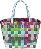 normani Einkaufskorb Shopper geflochten aus Kunststoff - robuster Strandkorb aus wasserabweisendem Material Farbe Classic/Calm