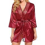 ABsoar Negligees Damen Hübsch Dessous Silk Kimono Dressing Babydoll Spitze Dessous Gürtel Bademantel Nachtwäsche Unterwäsche Lace Bodysuit