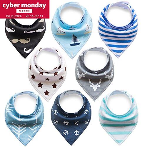 8er Baby Dreieckstuch Lätzchen Spucktuch Halstücher mit Schnullerkette und Verstellbaren Druckknöpfen Multifunctional, Super Absorbent & Soft Baumwoll, Jungen, von Future Founder