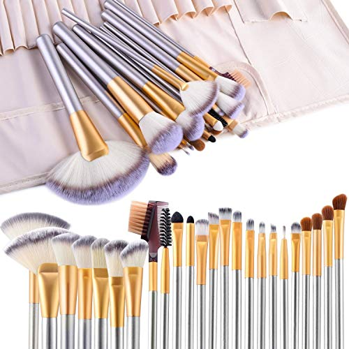 Makeup pennelli, Vander Life 24PCS pennelli trucco cosmetici professionale Essential make up Brush set kit con custodia da viaggio, champagne