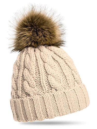 Rojeam Womens invierno costilla tricotado sombrero hecho punto sombrero y sombrero de invierno Beanie Hat mujeres sombrero de esquí Sombrero Deportes al aire libre Hat Sets