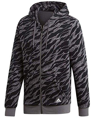 adidas Herren Essentials AOP Full Zip Hoodedy Kapuzen-Jacke, Dark Grey Heather, XL Preisvergleich