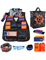 Tactical Vest Kids Blaster Jacket Kit for Nerf Toy Guns N-Strike Elite Series with 50 Pcs Soft Foam Darts Bullets,2Pcs Quick Reload Clips,2 Wrist Band,Face Mask & Goggle,A Target Pouch Equipment Bag