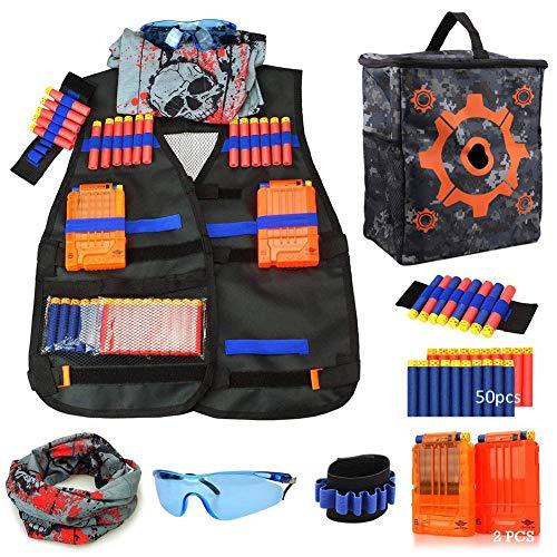Chaleco Táctico Niño Kit para Nerf Elite N-Strike Series con 50 dardos de recarga,Bolsa de almacenamiento Target Pouch,2 Clip de recarga,2 Muñequera de dardo suave,Máscara de tubo facial,Gafas (B)
