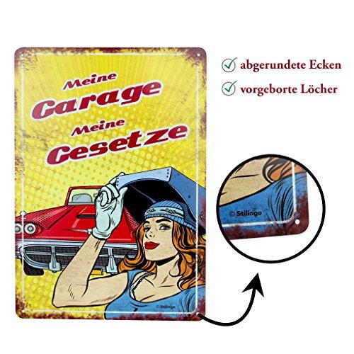 Stilingo Retro-Blechschild Garage Vintage Magnet-Metallschild Werbeschild 20x30 cm Türschild Werkstatt Sprüche Deko Wandschild Geschenk Männer (Lustige Bier Vintage)