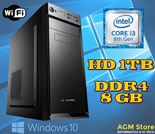 PC DESKTOP FISSO INTEL i3-8100 coffee lake/8° GENERAZIONE/RAM DDR4 8GB/HARD DISK 1TB/SK VIDEO Intel UHD 630 (integrata)/WI-FI 300/LICENZA WINDOWS 10 PRO INCLUSA/IDEALE CASA E UFFICIO
