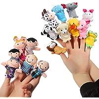 ThinkMax 16 Piezas Marionetas de Dedo Animales y Familias para Niños Bebe