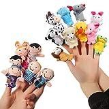 ThinkMax 16 Pcs Marionnettes à Doigt Animaux et Membres de la Famille marionnettes pour bébé Enfants