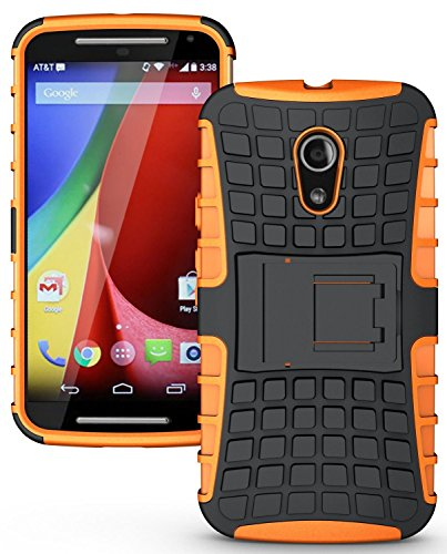 Snoogg MOTOROLA G 2ND GENERATION Armour Hybrid Protekt Series back case cover with Kick Back Stand in Orange