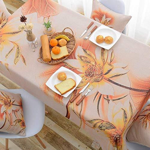 NqceKsrdfzn Kreativ Home Lotus TV Cabinet Cloth Art Gab Rechteck Wohnzimmer Quadratische Tischdecke aus Baumwolle und Leinen Western Food Tablecloth für Heimtextilien
