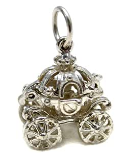 Welded Bliss Sterling 925 Silver Cinderella Pumpkin Carriage Charm Opening to Show Slipper WBC1055