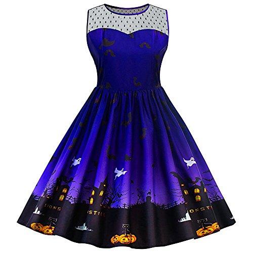 ZAFUL Damen Halloween Lace Vintage Retro Cocktail Abschlussball Kleider 50er 60er Rockabilly Dress?BLAU (Halloween Rock)