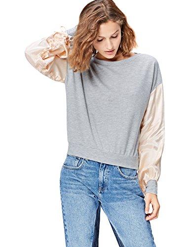 FIND Sweatshirt Damen Puffärmel und Colour-Blocking-Design, Grau (Grey Mix), 34 (Herstellergröße: X-Small)