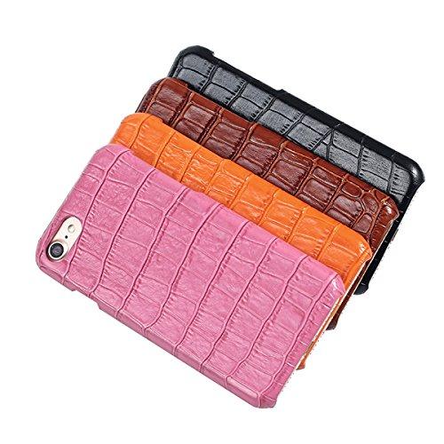 iPhone 6/6S plus Caso, Moda Coccodrillo Texture +Davvero Slot di scheda cintura + Slim PC Shell per iPhone 6/6S plus caso (Rose) Arancione
