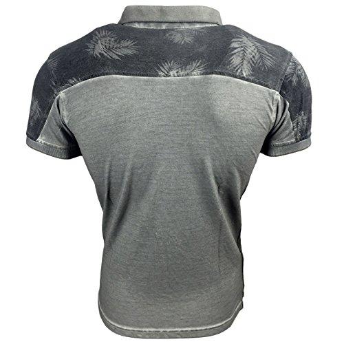 Subliminal Mode Herren Poloshirt Grau