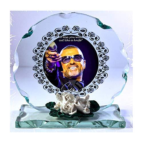 GEORGE MICHAEL violett Mood Foto Schnitt Glas rund Rahmen Plaque besonderen Anlass Limited Edition. Pop Icon.