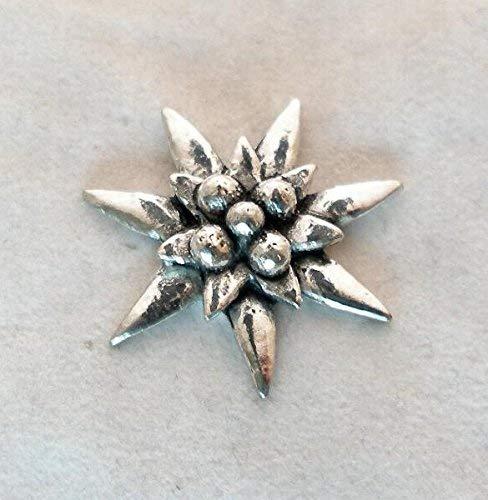 Hartzinn Edelweiss Abzeichen Anstecknadel mit Geschenkbeutel