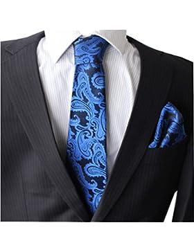 Paisley Krawatten Set Krawatte breit Einstecktuch Knöpfe Manschetten Hochzeit