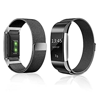 Für Fitbit Laden 2Bands Gurt Ersatz Loop Edelstahl Milanaise Armband Smart Watch Armbänder mit Magnet Verschluss für Fitbit Laden 2verstellbare schwarz Large Herren Frauen–Schwarz Groß