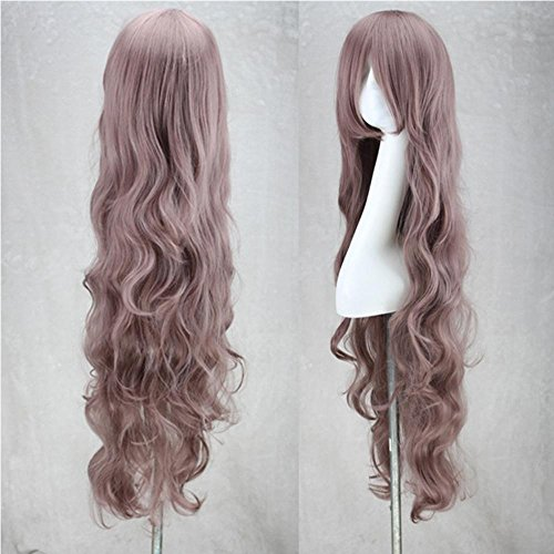 -Dame Long Curly Wavy Haar-volle Perücken Cosplay Partei-Anime Lolita / Harajuku Perücke-Rauch-purpurrotes 100Cm langes gelocktes Haar (Halloween-rauch-effekte)