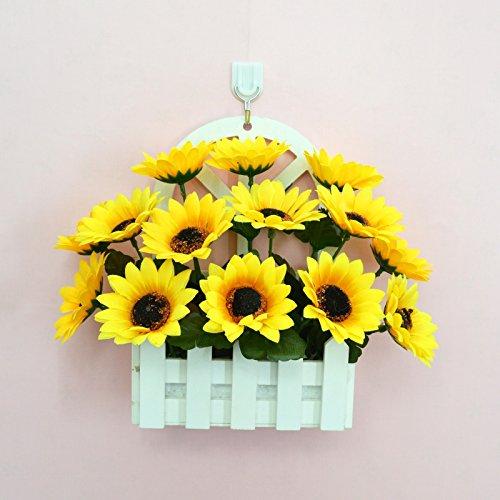 ALLDOLWEGE Personnalisé simple émulation menuiserie plastique en pot en pot pot de fleurs d'émulation de dans le mur de lumière Kit decorationThatSunflower jardin exquis +Hook