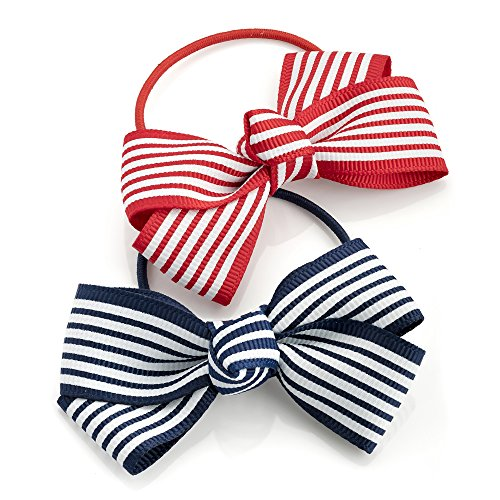 Two Piece Red & Navy Tone Bow Hair Elastic Set