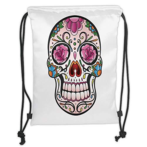 Fashion Printed Drawstring Backpacks Bags,Sugar Skull Decor,Spooky Sugar Skull with Pink Roses Twigs Blooms Teeth Smile Halloween Decorative,Multicolor Soft Satin,5 Liter Capacity,Adjustable Strin