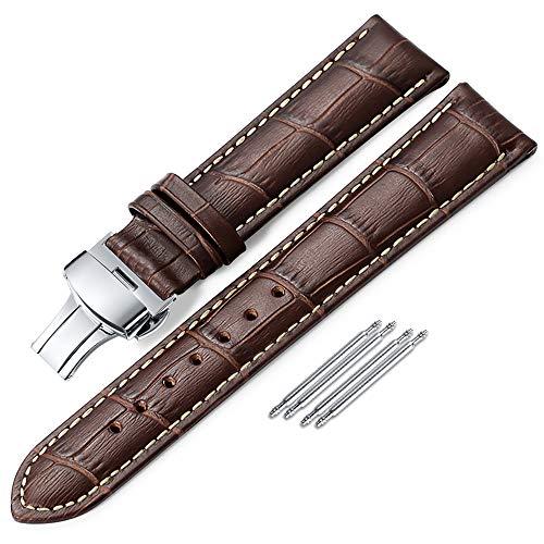 IStrap 18mm 19mm 20mm 21mm 22mm 24mm Bracelets de Montres en Cuir véritablestraps Grain Alligator Pattern Remplacement Bracelet de Montre -Marron